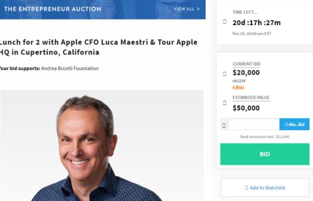 苹果CFO拍卖慈善午餐 预计成交价会是多少